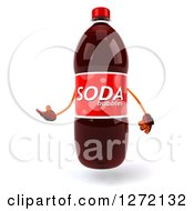 Clipart Of A 3d Soda Bottle Character Presenting To The Right Royalty Free Illustration