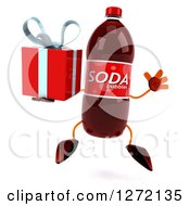 Clipart Of A 3d Soda Bottle Character Jumping With A Gift Royalty Free Illustration