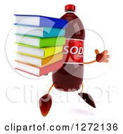 Clipart Of A 3d Soda Bottle Character Facing Right And Jumping With A Stack Of Books Royalty Free Illustration