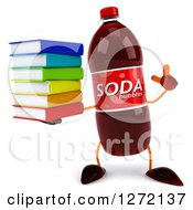 Clipart Of A 3d Soda Bottle Character Holding Up A Finger And A Stack Of Books Royalty Free Illustration