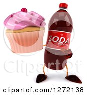 Clipart Of A 3d Soda Bottle Character Holding And Pointing To A Pink Frosted Cupcake Royalty Free Illustration