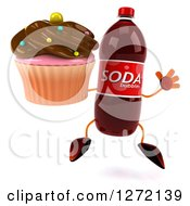 Clipart Of A 3d Soda Bottle Character Jumping And Holding A Chocolate Frosted Cupcake Royalty Free Illustration