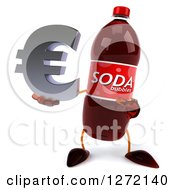 Clipart Of A 3d Soda Bottle Character Holding And Pointing To A Euro Symbol Royalty Free Illustration