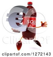 Clipart Of A 3d Soda Bottle Character Facing Right And Jumping With A Euro Symbol Royalty Free Illustration