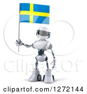 Clipart Of A 3d White And Blue Robot Standing And Holding A Swedish Flag Royalty Free Illustration