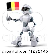 Clipart Of A 3d White And Blue Robot Walking To The Left With A Belgium Flag Royalty Free Illustration