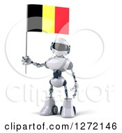 Clipart Of A 3d White And Blue Robot Standing With A Belgium Flag Royalty Free Illustration