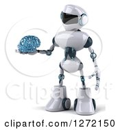 Clipart Of A 3d White And Blue Robot Holding A Glass Brain To The Left Royalty Free Illustration by Julos