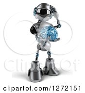 Clipart Of A 3d Thinking Silver Male Techno Robot Holding A Blue Glass Brain Royalty Free Illustration by Julos