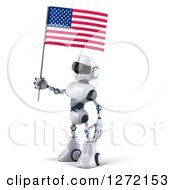 Clipart Of A 3d White And Blue Robot Facing Left And Holding An American Flag Royalty Free Illustration