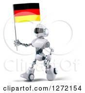 Clipart Of A 3d White And Blue Robot Walking To The Left And Holding A German Flag Royalty Free Illustration
