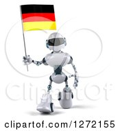 Clipart Of A 3d White And Blue Robot Walking And Holding A German Flag Royalty Free Illustration