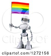 Clipart Of A 3d White And Blue Robot With A Rainbow LGBT Flag Royalty Free Illustration