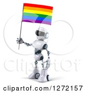 Clipart Of A 3d White And Blue Robot Facing Left With A Rainbow LGBT Flag Royalty Free Illustration