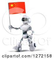 Clipart Of A 3d White And Blue Robot Walking To The Left And Holding A Chinese Flag Royalty Free Illustration