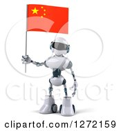 Clipart Of A 3d White And Blue Robot Holding A Chinese Flag Royalty Free Illustration
