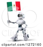 Clipart Of A 3d White And Blue Robot Walking To The Left And Holding A Mexican Flag Royalty Free Illustration