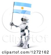 Clipart Of A 3d White And Blue Robot Facing Left And Holding An Argentine Flag Royalty Free Illustration