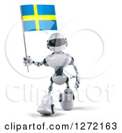 Clipart Of A 3d White And Blue Robot Walking And Holding A Swedish Flag Royalty Free Illustration