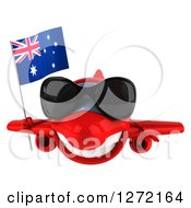Clipart Of A 3d Happy Red Airplane Wearing Sunglasses And Flying With An Australian Flag Royalty Free Illustration