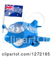 Clipart Of A 3d Happy Blue Airplane Flying To The Left With An Australian Flag Royalty Free Illustration