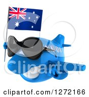 Clipart Of A 3d Happy Blue Airplane Wearing Sunglasses And Flying To The Left With An Australian Flag Royalty Free Illustration