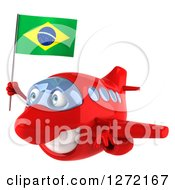 Clipart Of A 3d Happy Red Airplane Flying To The Left With A Brazilian Flag Royalty Free Illustration