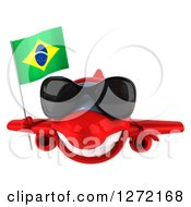 Clipart Of A 3d Happy Red Airplane Wearing Sunglasses And Flying With A Brazilian Flag Royalty Free Illustration