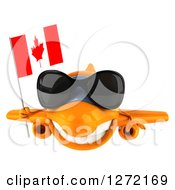 Clipart Of A 3d Happy Orange Airplane Wearing Sunglasses And Flying With A Canadian Flag Royalty Free Illustration