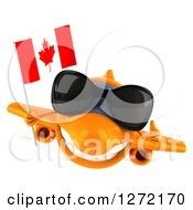 Clipart Of A 3d Happy Orange Airplane Wearing Sunglasses Giving A Thumb Up And Flying With A Canadian Flag Royalty Free Illustration