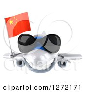 Clipart Of A 3d White Airplane Wearing Sunglasses And Flying With A Chinese Flag Royalty Free Illustration