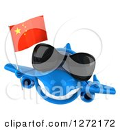 Clipart Of A 3d Blue Airplane Wearing Sunglasses Giving A Thumb Up And Flying With A Chinese Flag Royalty Free Illustration