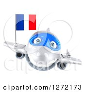 Clipart Of A 3d Happy White Airplane Giving A Thumb Up And Flying With A French Flag Royalty Free Illustration