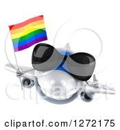 Clipart Of A 3d Happy White Airplane Wearing Sunglasses Holding A Thumb Up And Flying With A LGBT Rainbow Flag Royalty Free Illustration