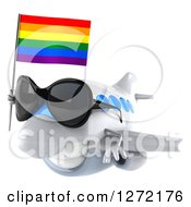 Clipart Of A 3d Happy White Airplane Wearing Sunglasses And Flying To The Left With A LGBT Rainbow Flag Royalty Free Illustration