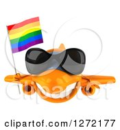 Clipart Of A 3d Happy Orange Airplane Wearing Sunglasses And Flying With A LGBT Rainbow Flag Royalty Free Illustration