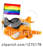 Clipart Of A 3d Happy Orange Airplane Wearing Sunglasses And Flying To The Left With A LGBT Rainbow Flag Royalty Free Illustration