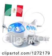 Clipart Of A 3d White Airplane Flying To The Left With A Mexican Flag Royalty Free Illustration