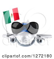 Clipart Of A 3d White Airplane Wearing Sunglasses And Flying With A Mexican Flag Royalty Free Illustration