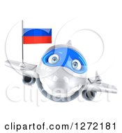 Clipart Of A 3d Happy White Airplane Holding A Thumb Up And Flying With A Russian Flag Royalty Free Illustration