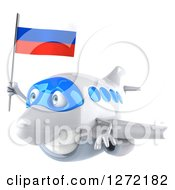 Clipart Of A 3d Happy White Airplane Flying To The Left With A Russian Flag Royalty Free Illustration