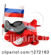 Clipart Of A 3d Happy Red Airplane Wearing Sunglasses And Flying To The Left With A Russian Flag Royalty Free Illustration