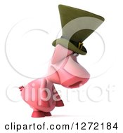 Clipart Of A 3d Sad Irish Pig Facing Right And Pouting Royalty Free Illustration by Julos