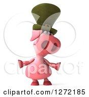 Clipart Of A 3d Sad Irish Pig Shrugging Royalty Free Illustration by Julos