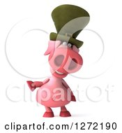 Clipart Of A 3d Happy Irish Pig Presenting To The Left Royalty Free Illustration by Julos