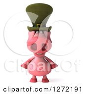 Clipart Of A 3d Happy Irish Pig Royalty Free Illustration by Julos