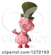 Clipart Of A 3d Happy Irish Pig Waving Royalty Free Illustration by Julos