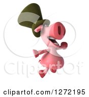 Clipart Of A 3d Happy Irish Pig Facing Right And Jumping Royalty Free Illustration by Julos