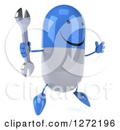 Clipart Of A 3d Happy Blue And White Pill Character Facing Slightly Right And Jumping With A Wrench Royalty Free Illustration
