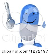 Clipart Of A 3d Happy Blue And White Pill Character Holding A Thumb Up And A Key Royalty Free Illustration